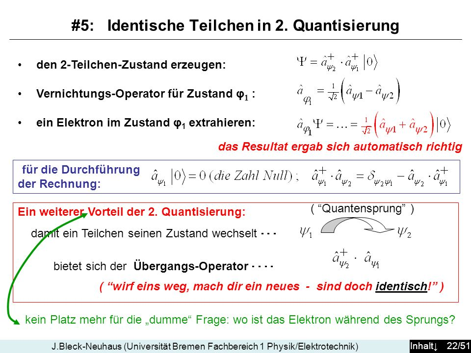 #5: Identische Teilchen in 2. Quantisierung