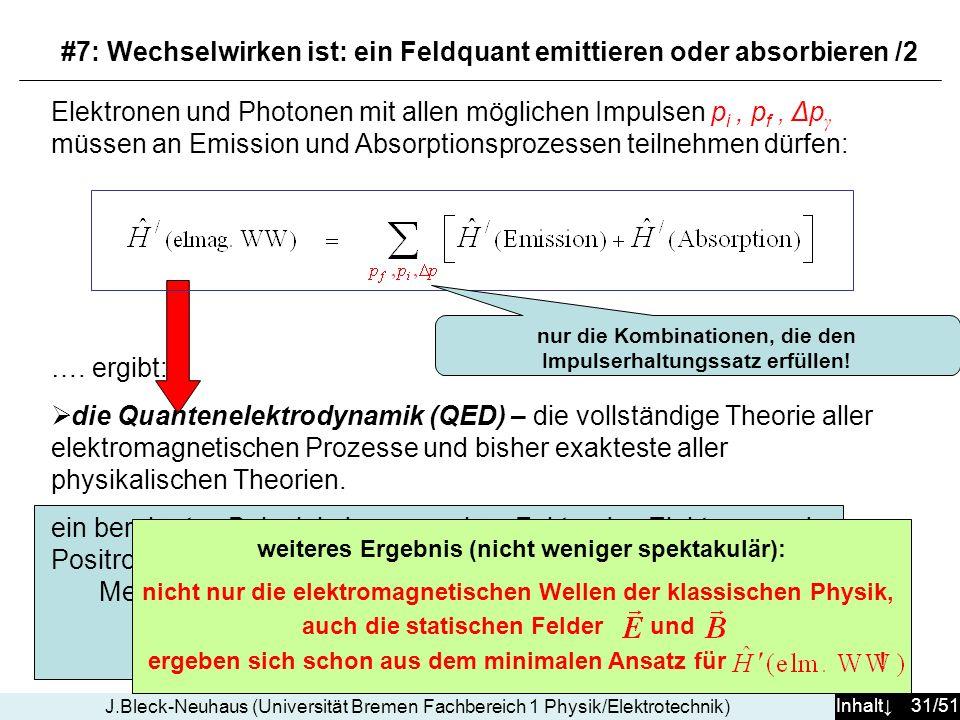 #7: Wechselwirken ist: ein Feldquant emittieren oder absorbieren /2