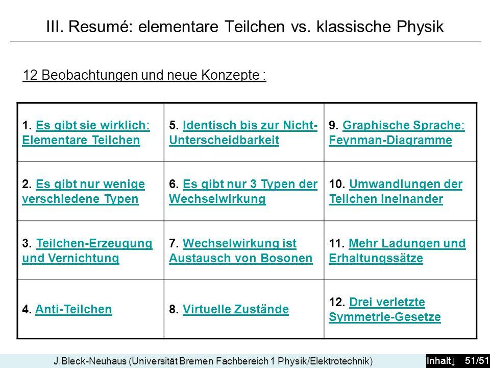 III. Resumé: elementare Teilchen vs. klassische Physik