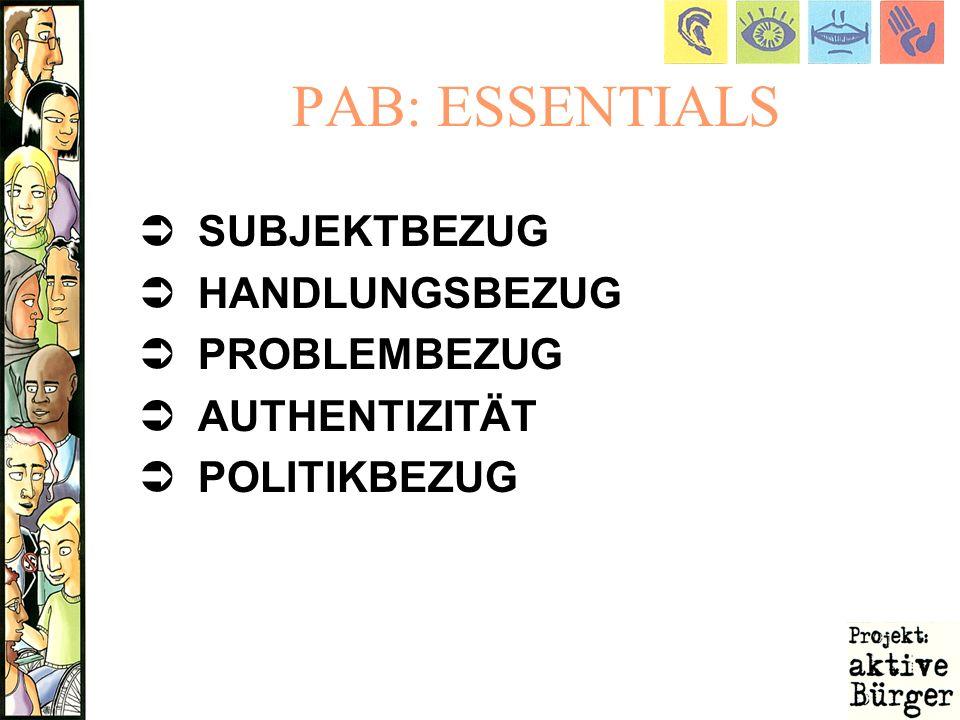 PAB: ESSENTIALS SUBJEKTBEZUG HANDLUNGSBEZUG PROBLEMBEZUG AUTHENTIZITÄT