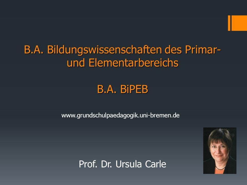 B. A. Bildungswissenschaften des Primar- und Elementarbereichs B. A