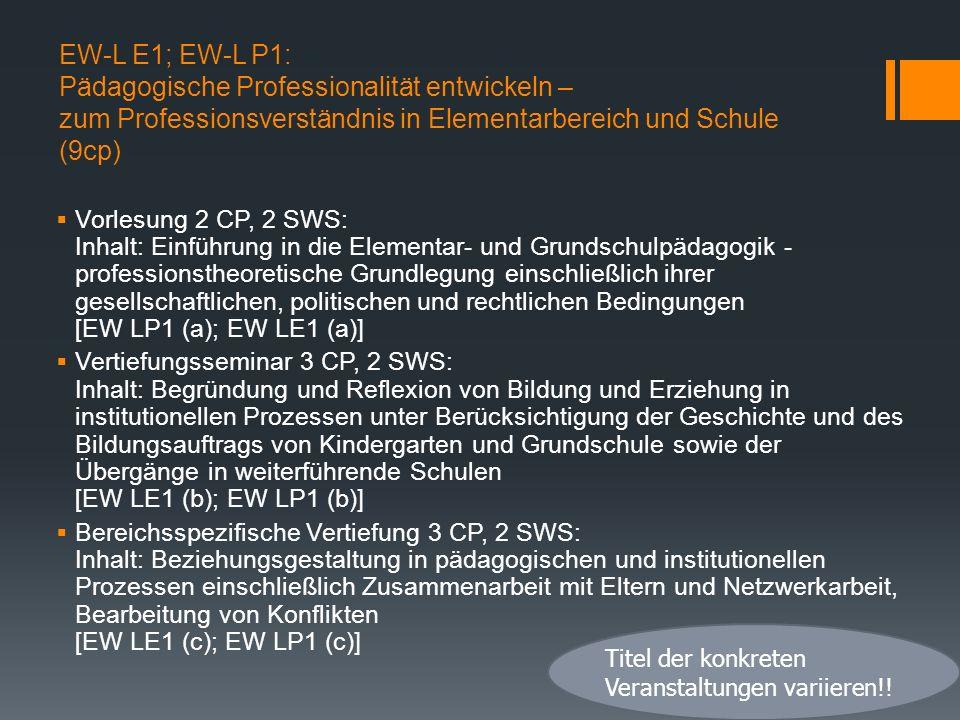 EW-L E1; EW-L P1: Pädagogische Professionalität entwickeln – zum Professionsverständnis in Elementarbereich und Schule (9cp)