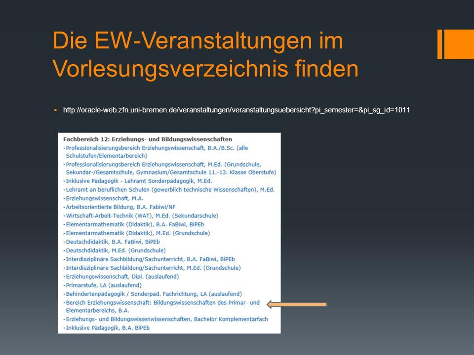 Die EW-Veranstaltungen im Vorlesungsverzeichnis finden