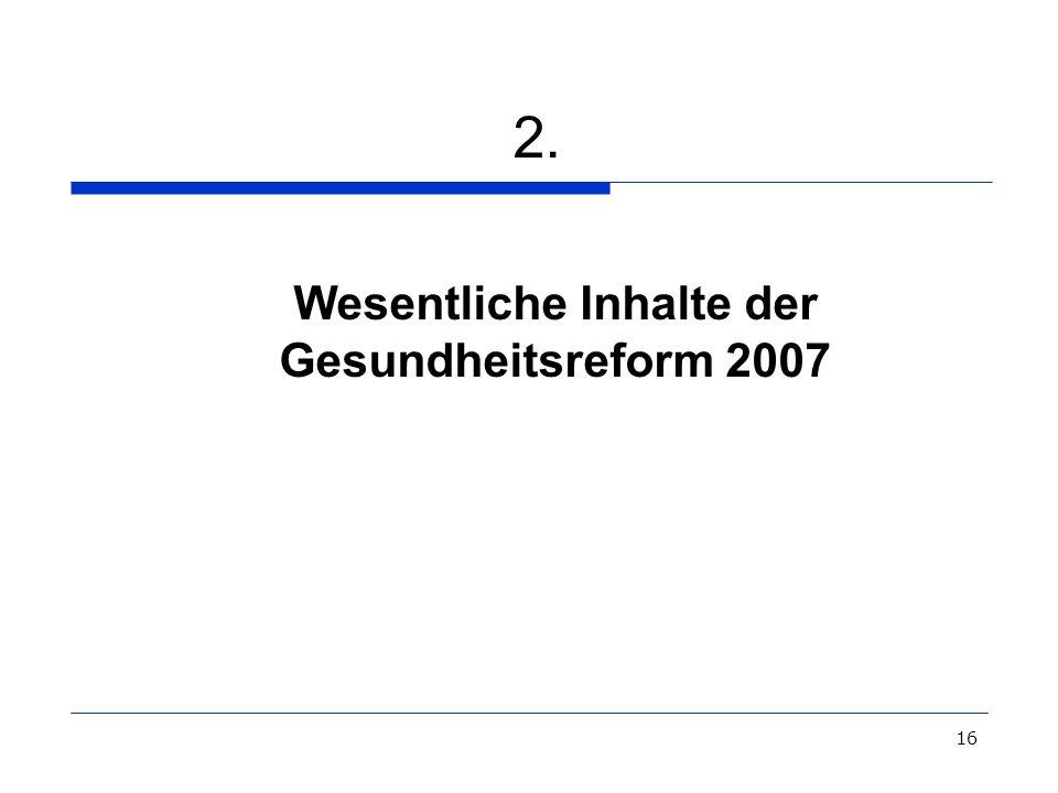 Wesentliche Inhalte der Gesundheitsreform 2007