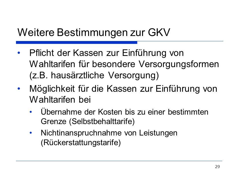 Weitere Bestimmungen zur GKV