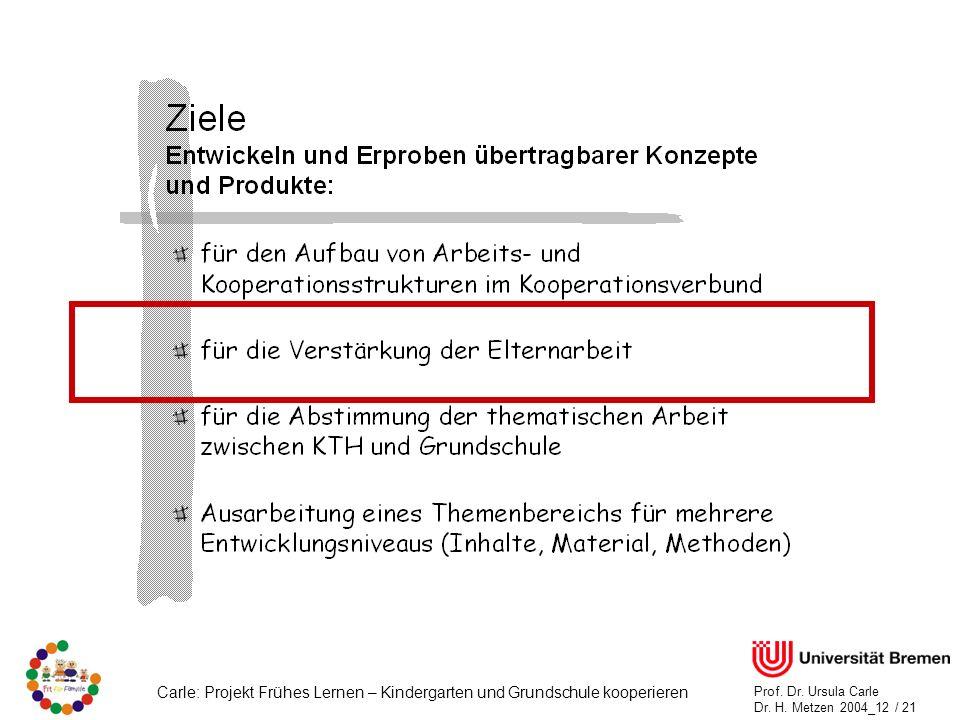 Carle: Projekt Frühes Lernen – Kindergarten und Grundschule kooperieren