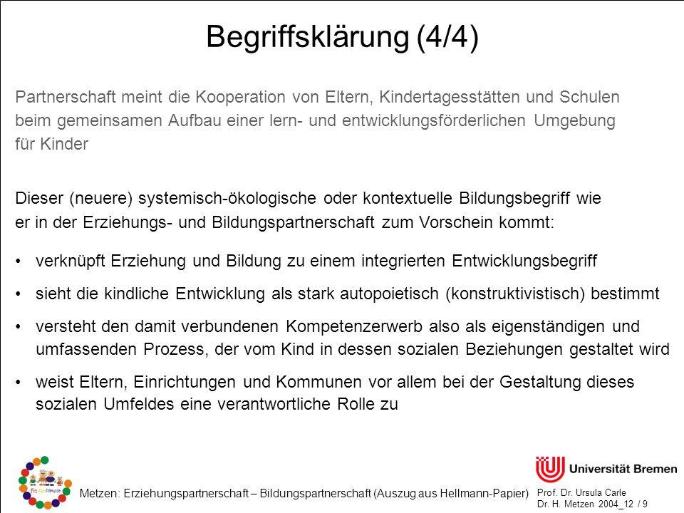 Begriffsklärung (4/4) Partnerschaft meint die Kooperation von Eltern, Kindertagesstätten und Schulen.