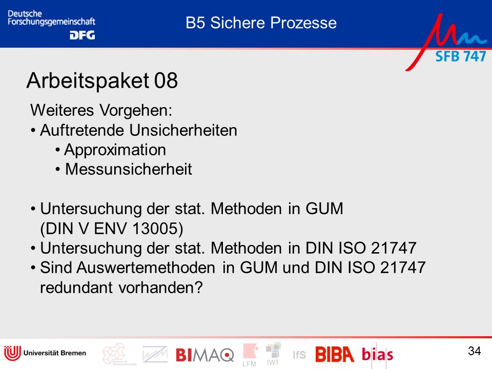 Arbeitspaket 08 B5 Sichere Prozesse Weiteres Vorgehen: