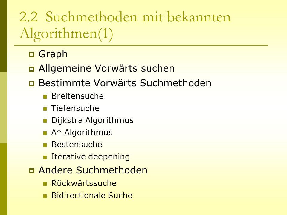 2.2 Suchmethoden mit bekannten Algorithmen(1)