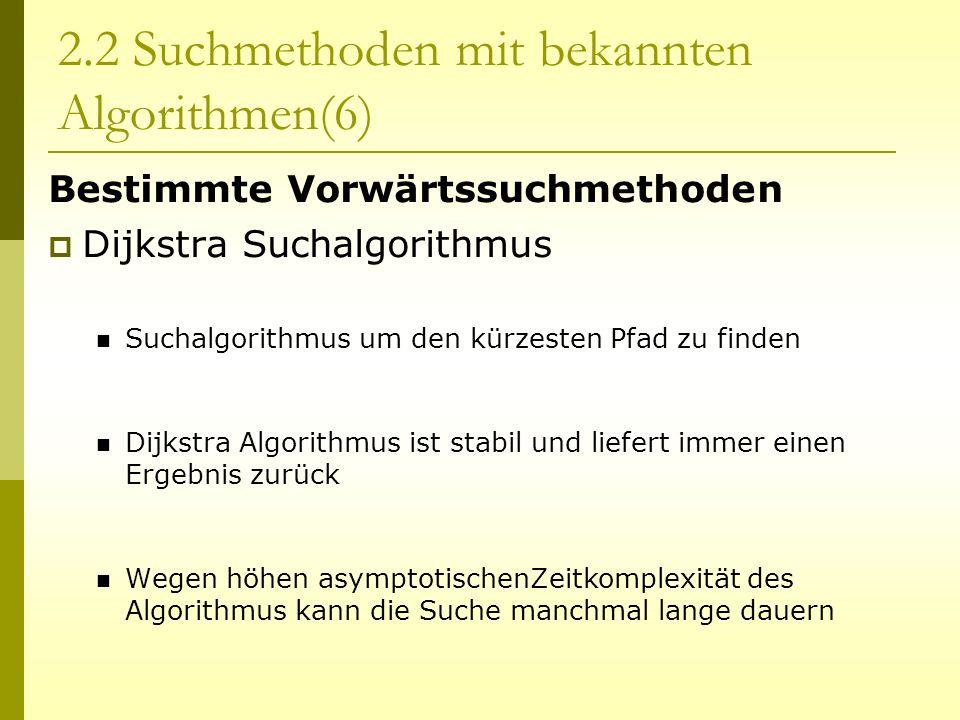 2.2 Suchmethoden mit bekannten Algorithmen(6)