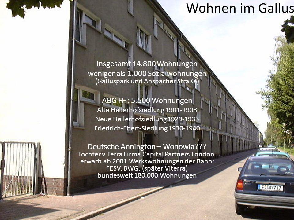 Wohnen im Gallus Insgesamt 14.800 Wohnungen