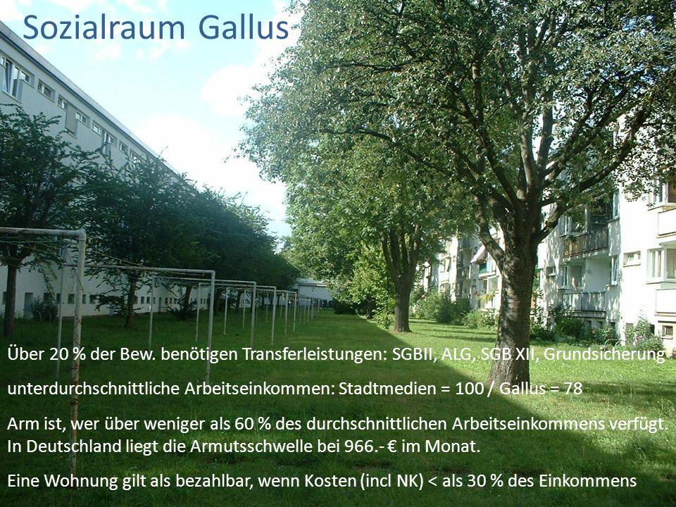 Sozialraum Gallus 19.09.15. Über 20 % der Bew. benötigen Transferleistungen: SGBII, ALG, SGB XII, Grundsicherung.