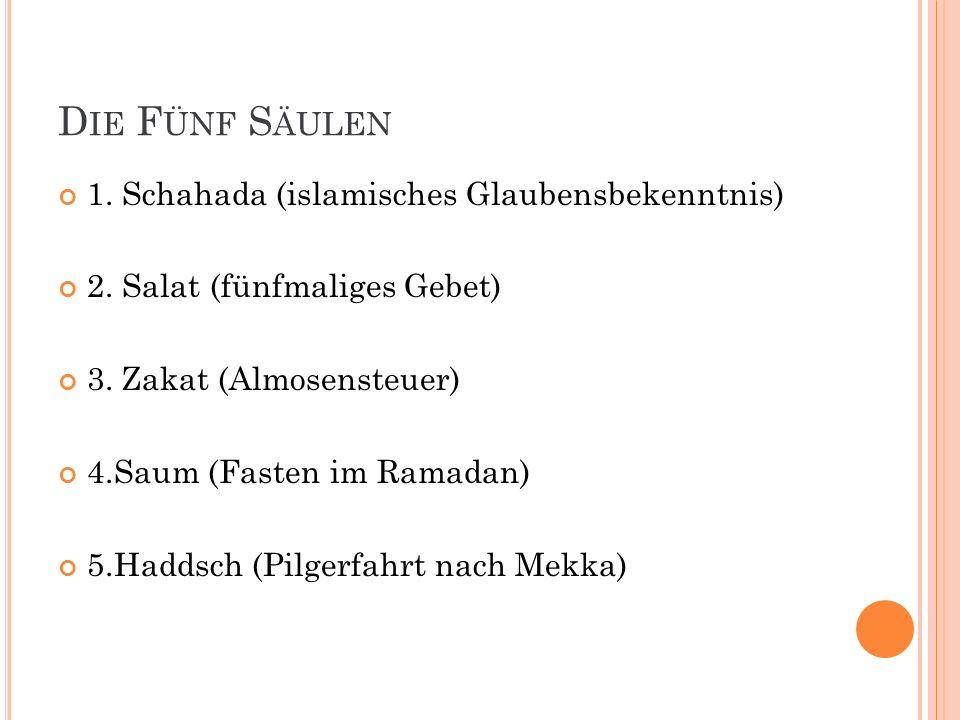 Die Fünf Säulen 1. Schahada (islamisches Glaubensbekenntnis)