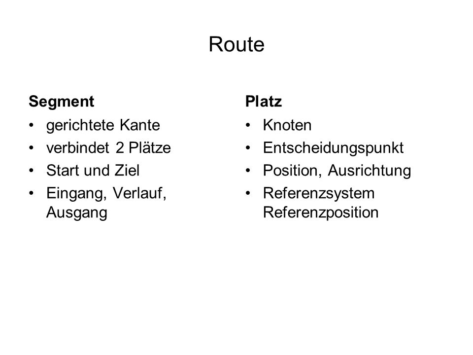 Route Segment Platz gerichtete Kante verbindet 2 Plätze Start und Ziel