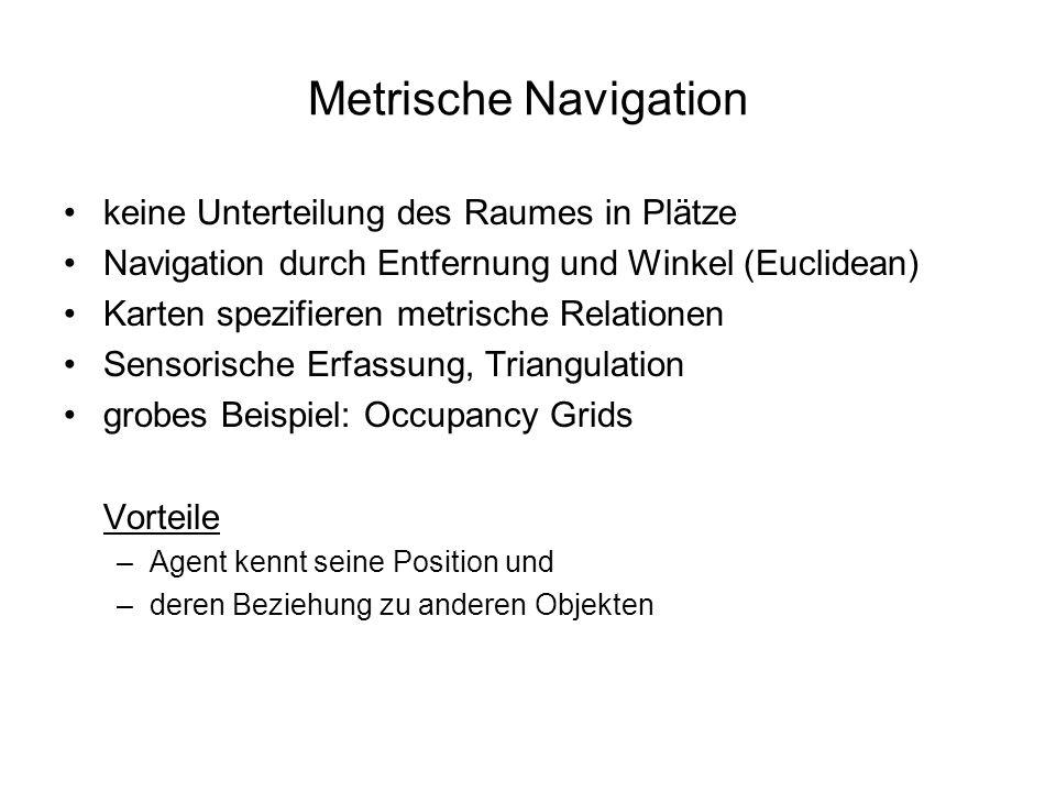 Metrische Navigation keine Unterteilung des Raumes in Plätze