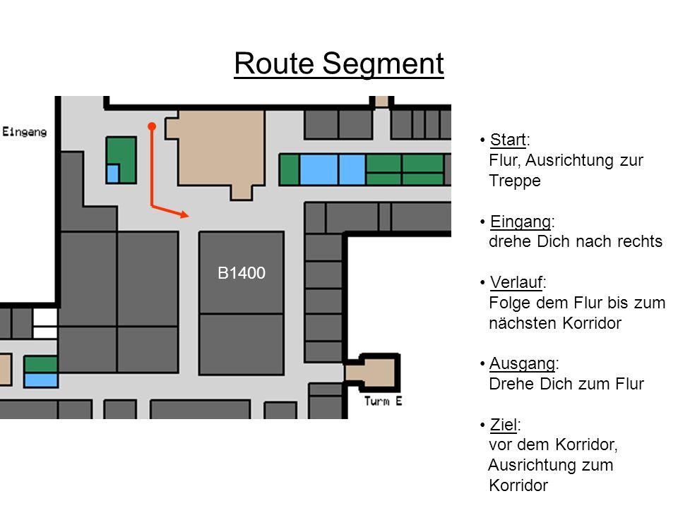 Route Segment Start: Flur, Ausrichtung zur Treppe • Eingang: