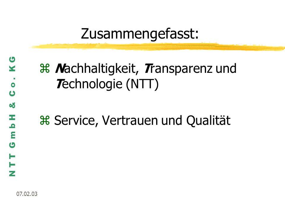 Zusammengefasst: Nachhaltigkeit, Transparenz und Technologie (NTT)