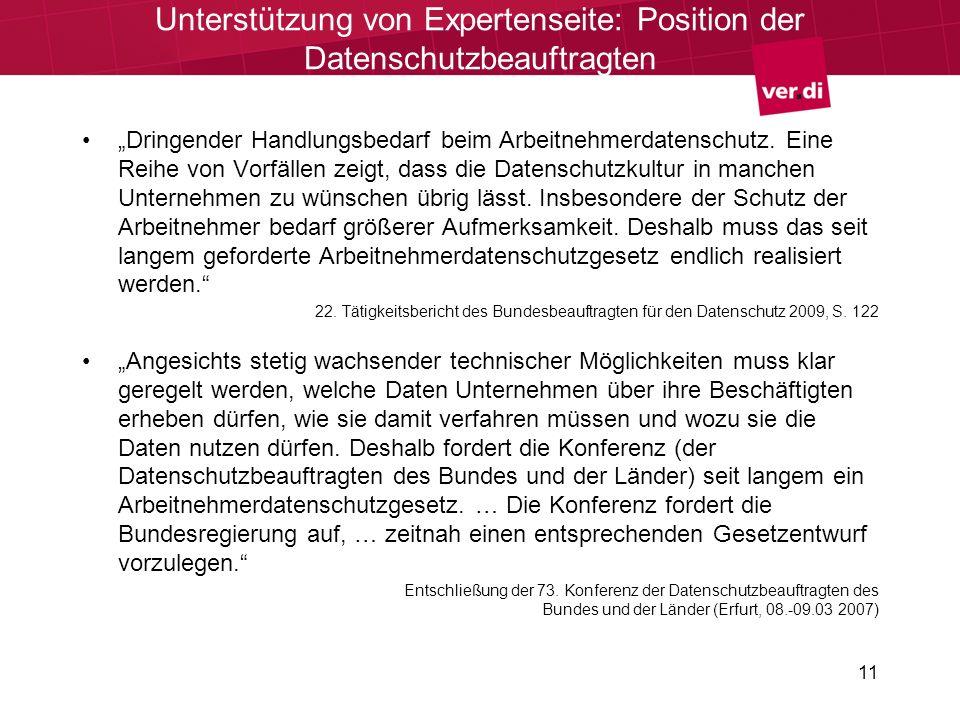 Unterstützung von Expertenseite: Position der Datenschutzbeauftragten