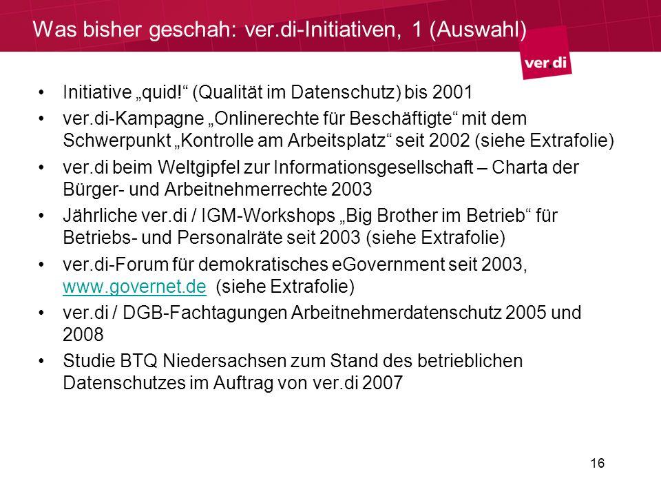 Was bisher geschah: ver.di-Initiativen, 1 (Auswahl)
