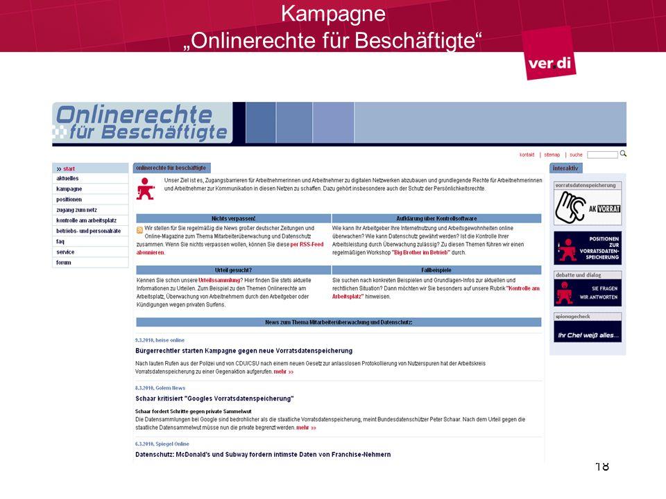 """Kampagne """"Onlinerechte für Beschäftigte"""
