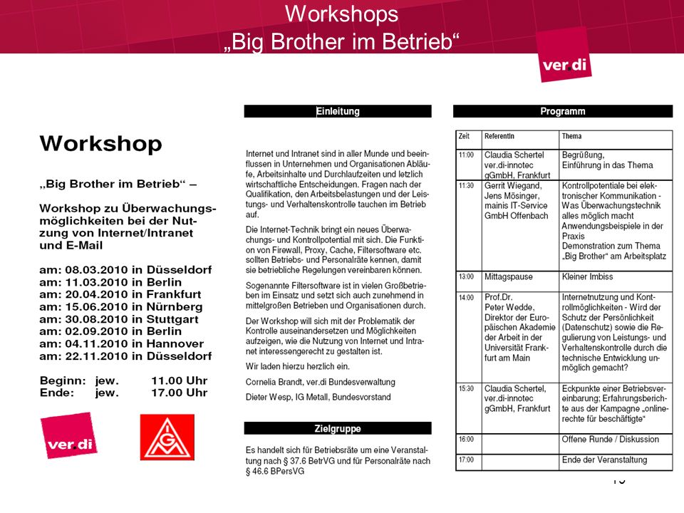 "Workshops ""Big Brother im Betrieb"