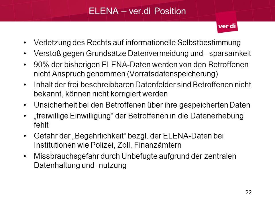 ELENA – ver.di Position Verletzung des Rechts auf informationelle Selbstbestimmung. Verstoß gegen Grundsätze Datenvermeidung und –sparsamkeit.