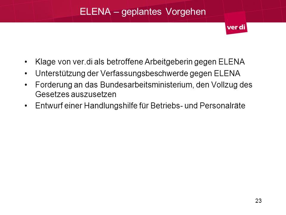 ELENA – geplantes Vorgehen