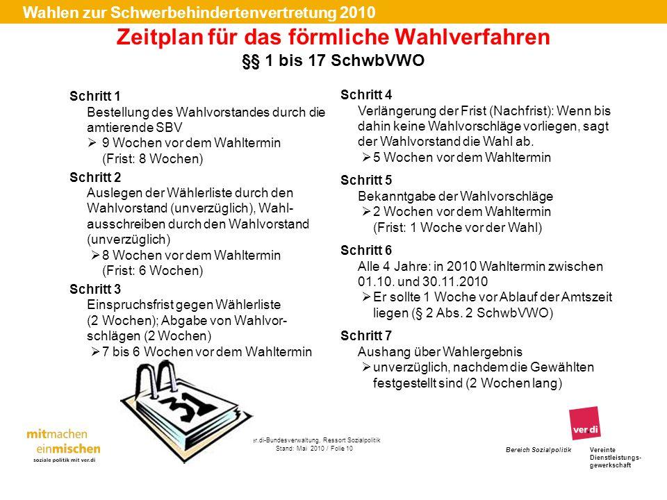 Zeitplan für das förmliche Wahlverfahren §§ 1 bis 17 SchwbVWO