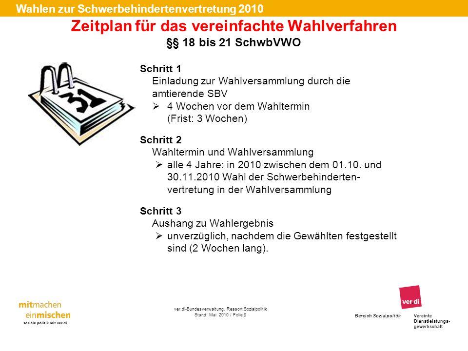 Zeitplan für das vereinfachte Wahlverfahren §§ 18 bis 21 SchwbVWO