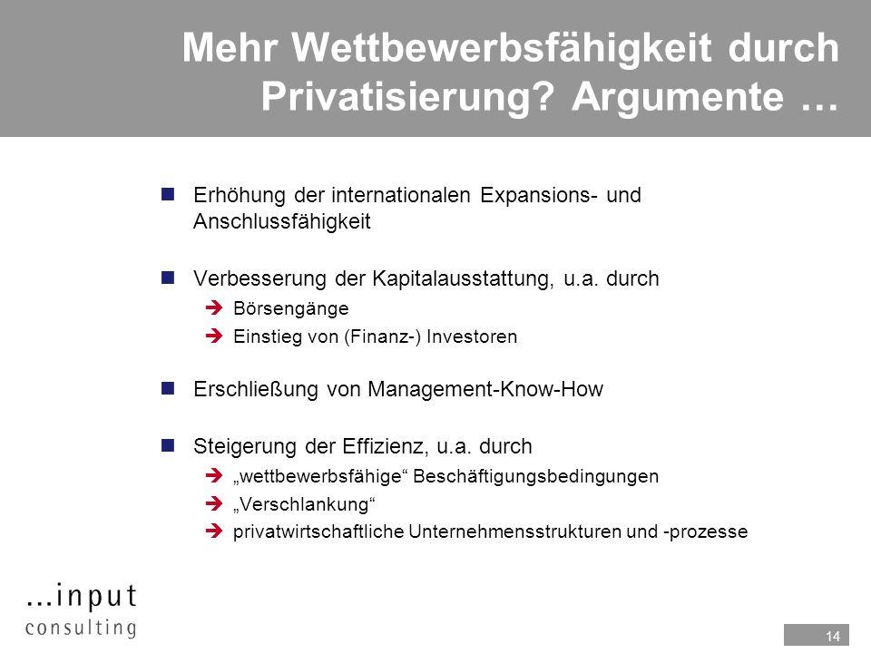 Mehr Wettbewerbsfähigkeit durch Privatisierung Argumente …