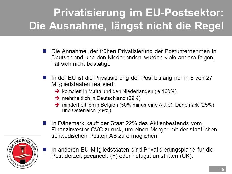 Privatisierung im EU-Postsektor: Die Ausnahme, längst nicht die Regel