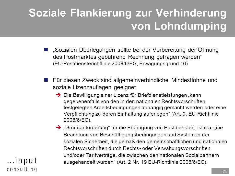 Soziale Flankierung zur Verhinderung von Lohndumping