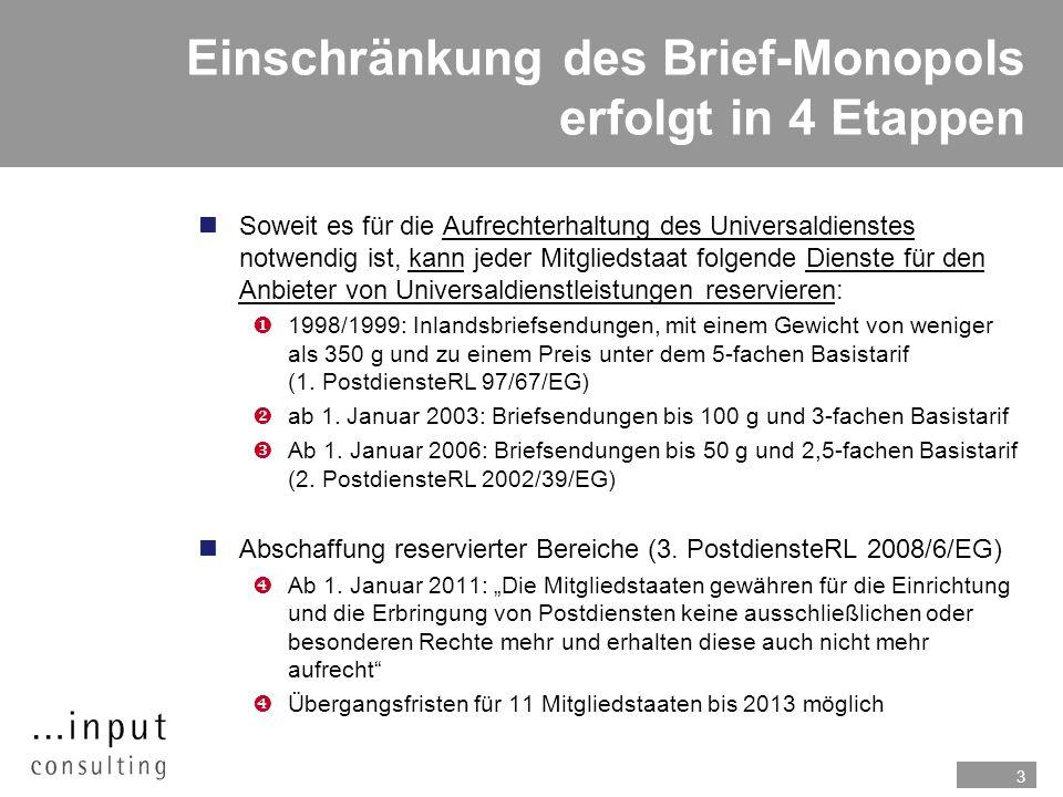 Einschränkung des Brief-Monopols erfolgt in 4 Etappen