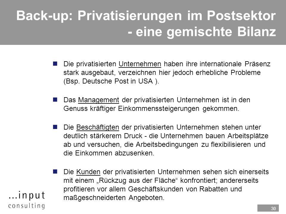 Back-up: Privatisierungen im Postsektor - eine gemischte Bilanz