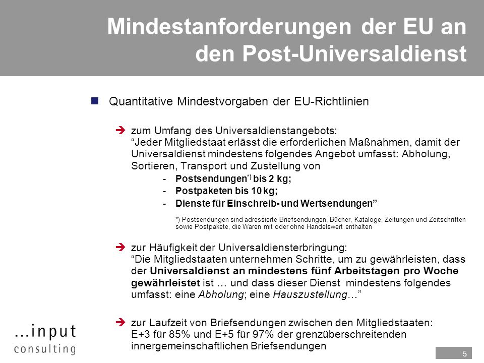 Mindestanforderungen der EU an den Post-Universaldienst