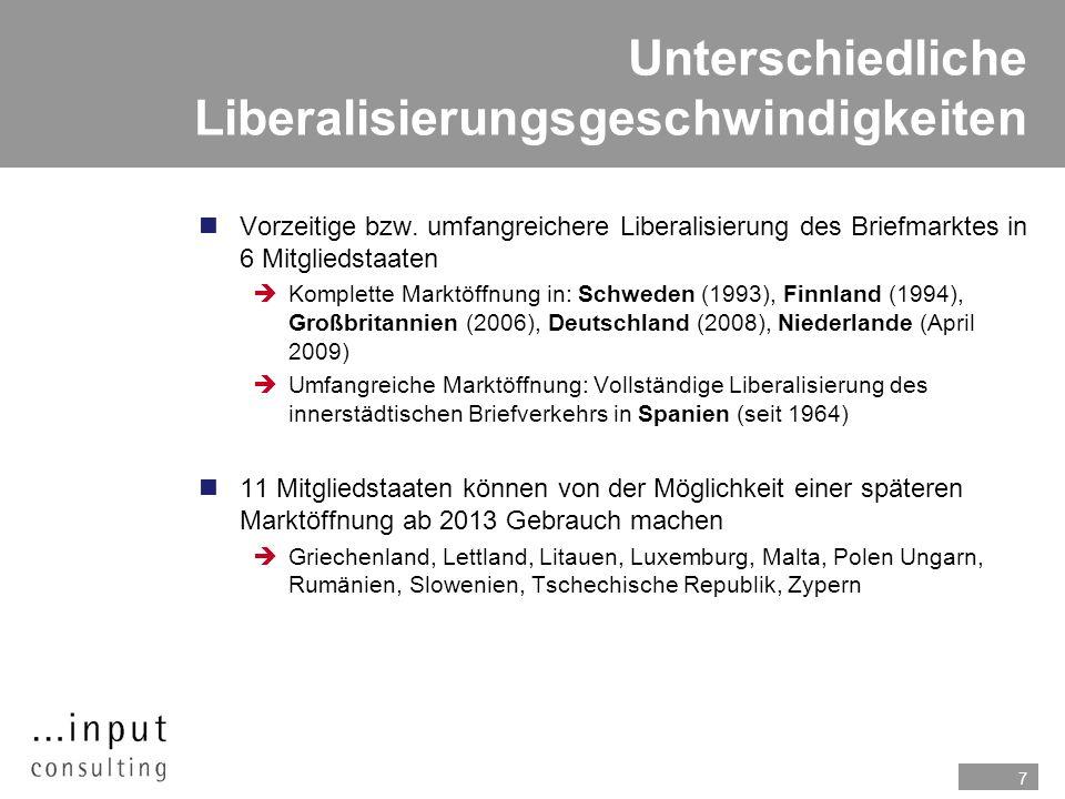 Unterschiedliche Liberalisierungsgeschwindigkeiten