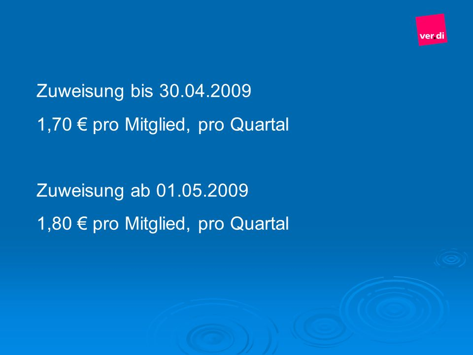 Zuweisung bis 30.04.20091,70 € pro Mitglied, pro Quartal.