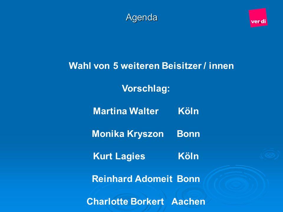 Wahl von 5 weiteren Beisitzer / innen Charlotte Borkert Aachen