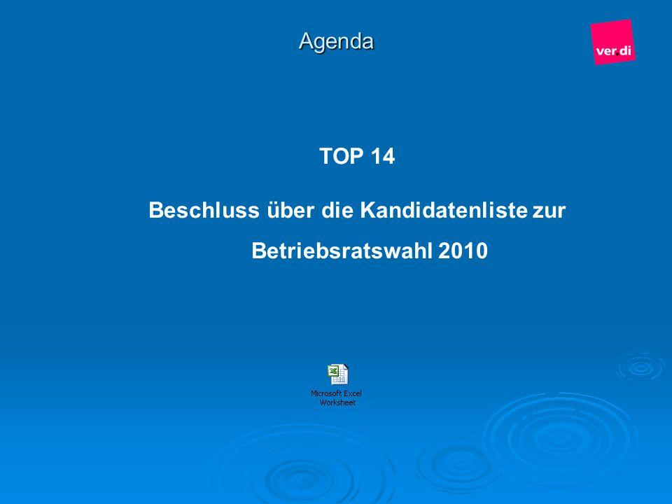 Beschluss über die Kandidatenliste zur Betriebsratswahl 2010