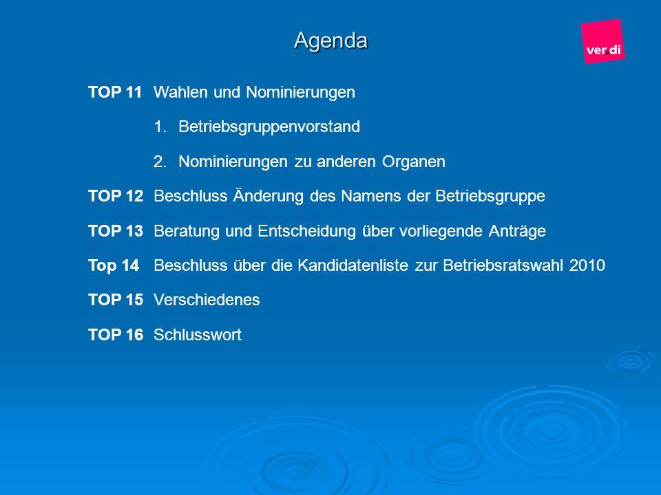 Agenda TOP 11 Wahlen und Nominierungen Betriebsgruppenvorstand