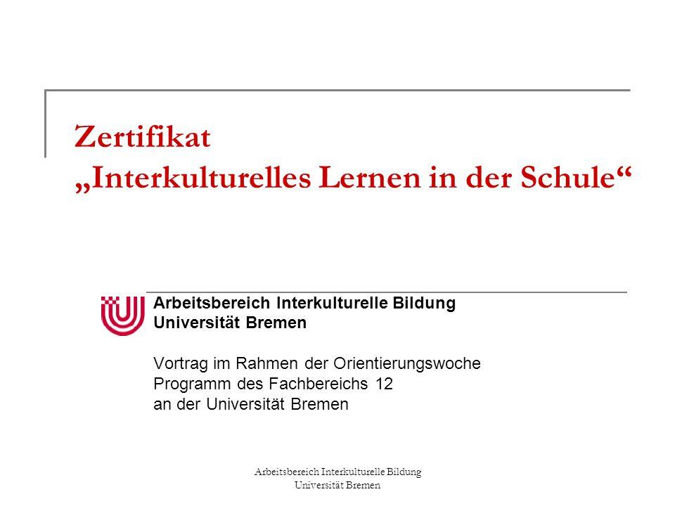 """Zertifikat """"Interkulturelles Lernen in der Schule"""