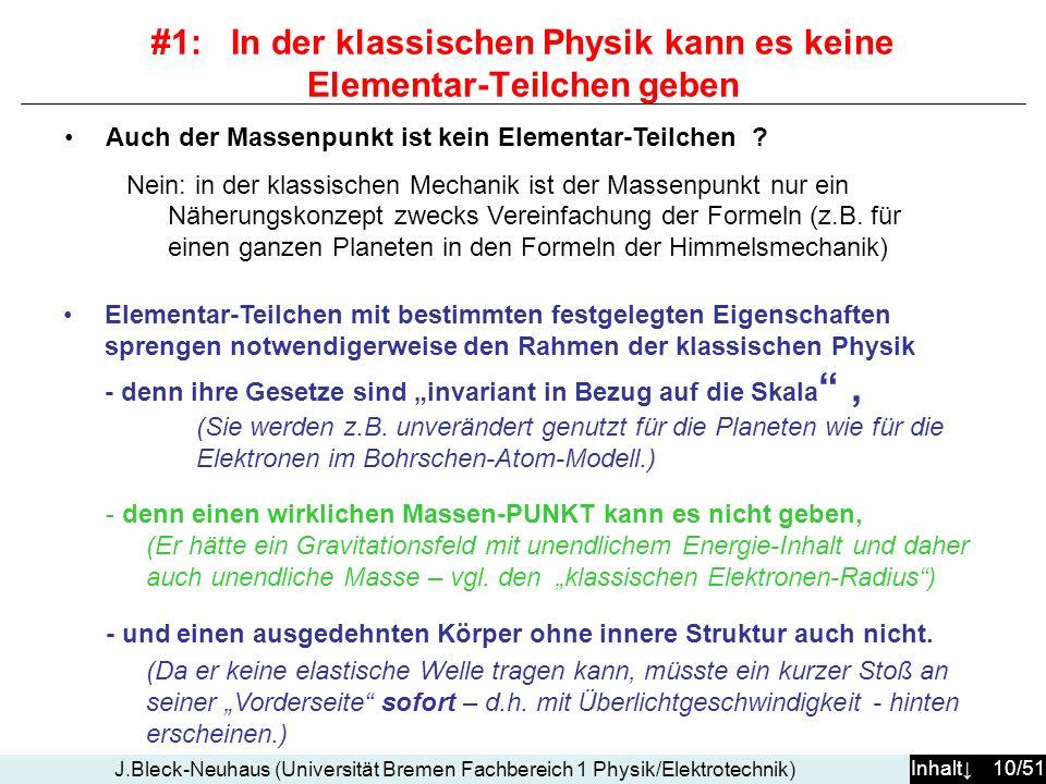 #1: In der klassischen Physik kann es keine Elementar-Teilchen geben