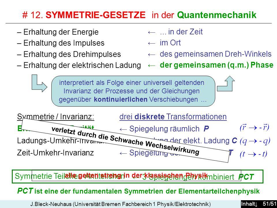 # 12. SYMMETRIE-GESETZE in der klassischen Physik