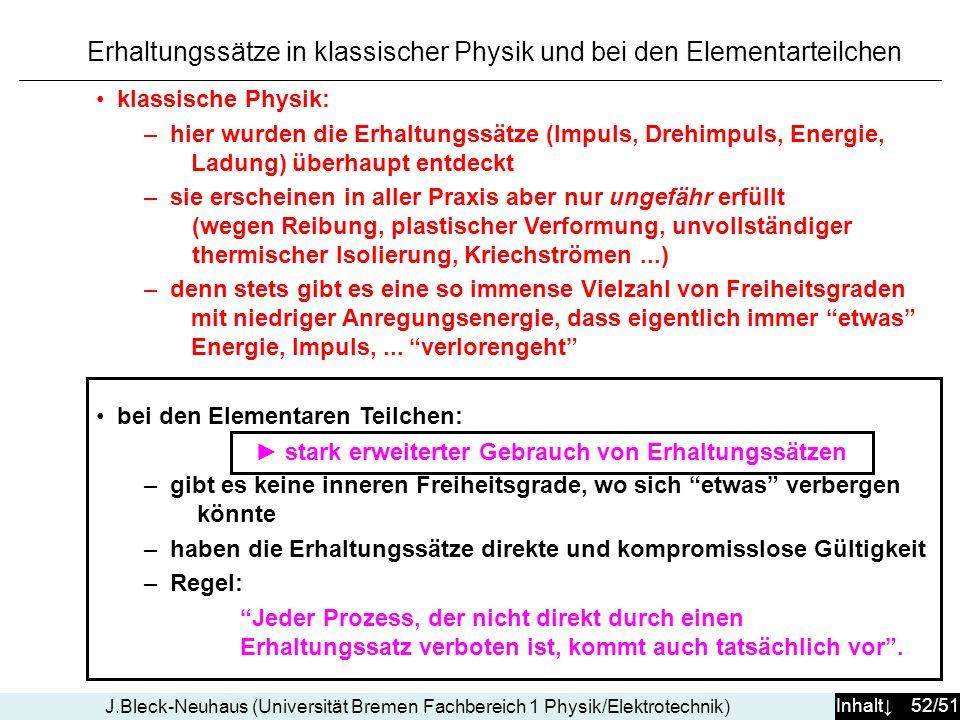 Erhaltungssätze in klassischer Physik und bei den Elementarteilchen