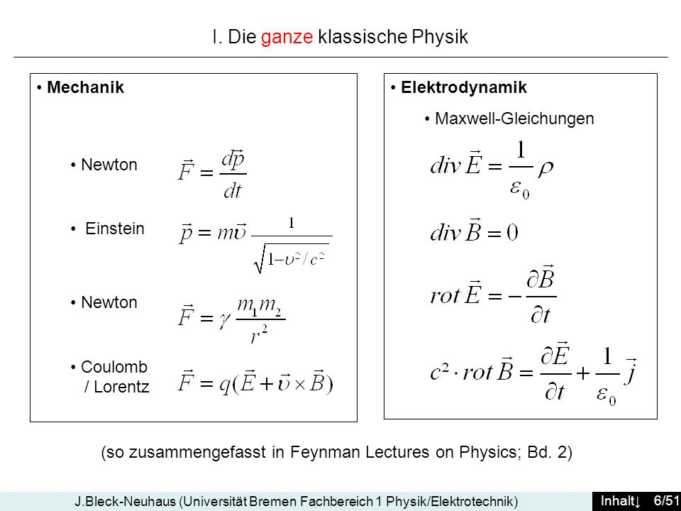 I. Die ganze klassische Physik