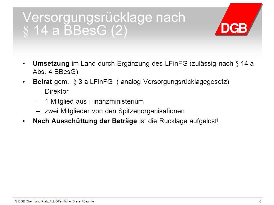 Versorgungsrücklage nach § 14 a BBesG (2)