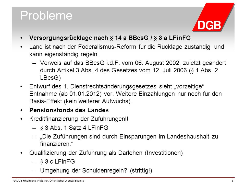 Probleme Versorgungsrücklage nach § 14 a BBesG / § 3 a LFinFG