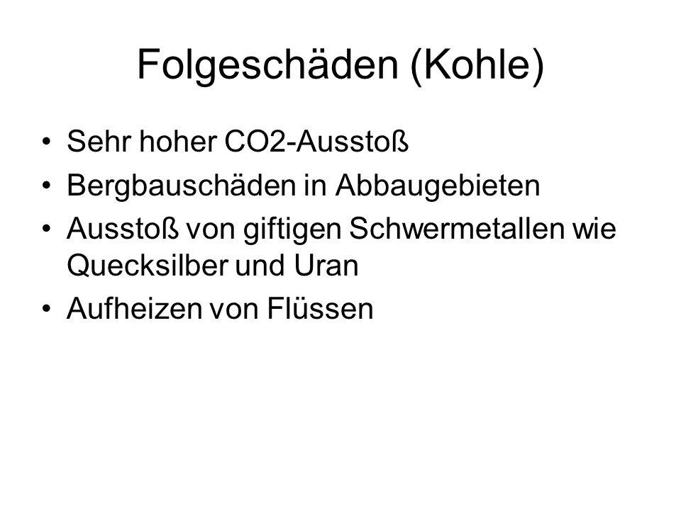 Folgeschäden (Kohle) Sehr hoher CO2-Ausstoß