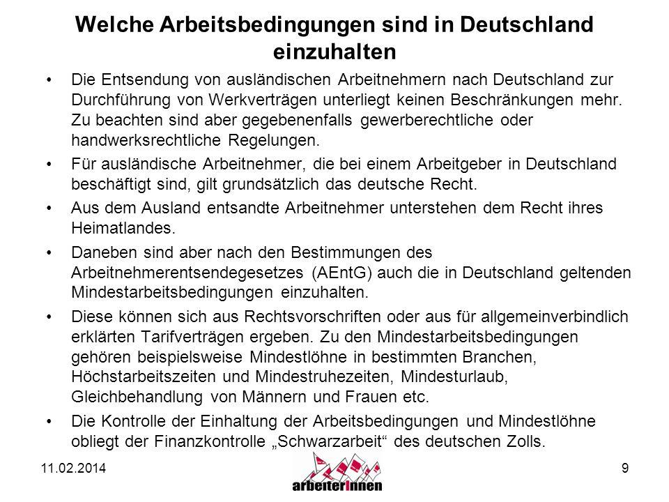 Welche Arbeitsbedingungen sind in Deutschland einzuhalten