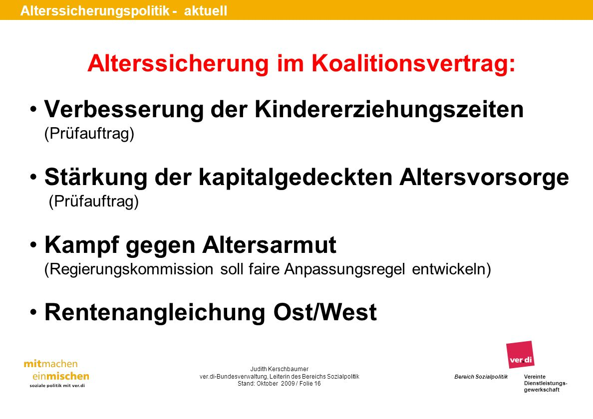 Alterssicherung im Koalitionsvertrag: